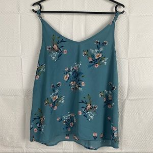 Women's Cotton On Blue Floral Sleeveless Pullover Tank Top Size M